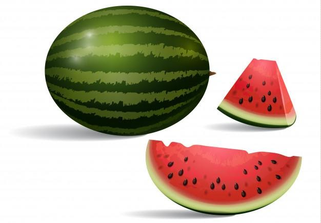 Realistic illustration of watermelon. dessert, peace, slice. fruit concept. Free Vector