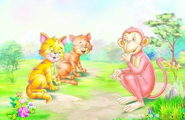 Cats and Monkey
